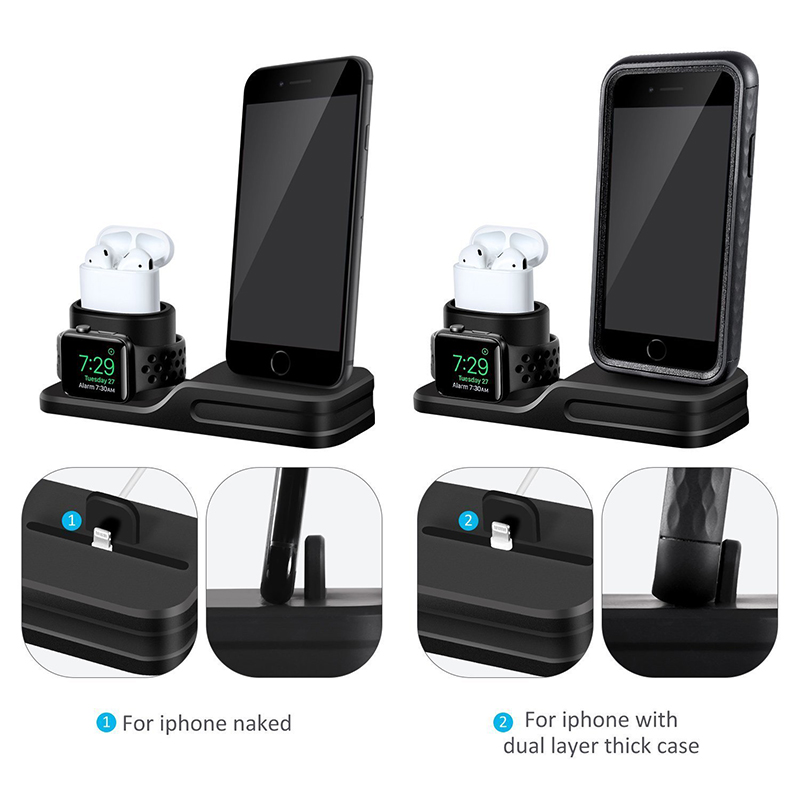 3 in 1 Charging Dock Holder For Iphone X Iphone 8 Iphone 7 Iphone 6 Silicone charging stand Dock Station For Apple watch Airpods (2)