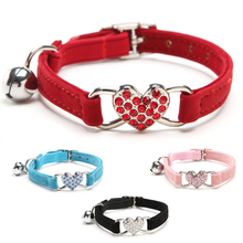 Rhinestones Heart Cat Collar Puppies Dog Safety Elastic Adjustable Charm and Bell Soft Velvet Material 5 colors S Free shipping