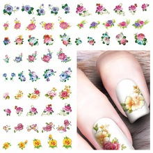 YZWLE 1 Sheet Optional Chic Flower Patterns Nail Art Water Transfer Stickers Decals Nail Decoration Accessories(China)