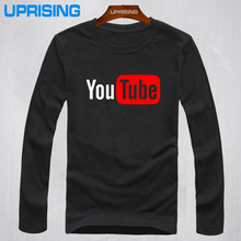 New Fashion YouTube Logo Print Brand Tops Cotton Long Sleeve Summer T Shirts Casual Custom Hip Hop Men Tee Shirt(China)