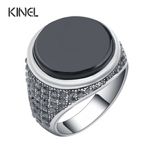 Kinel Fashion Punk Black Men Ring Vintage Jewelry Covered Crystal Round Resin Rings For Men Christmas Gifts