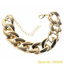3 Color Fashion Women's Golden/Black/Silver Curb Link Plastic Chain Bracelet 4TX3