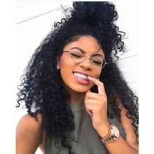 Kinky Curly Wig Virgin Malaysian Full lace Wigs Unprocessed Human Curly Hair Wig With Baby Hair High Ponytail Lace Front Wig