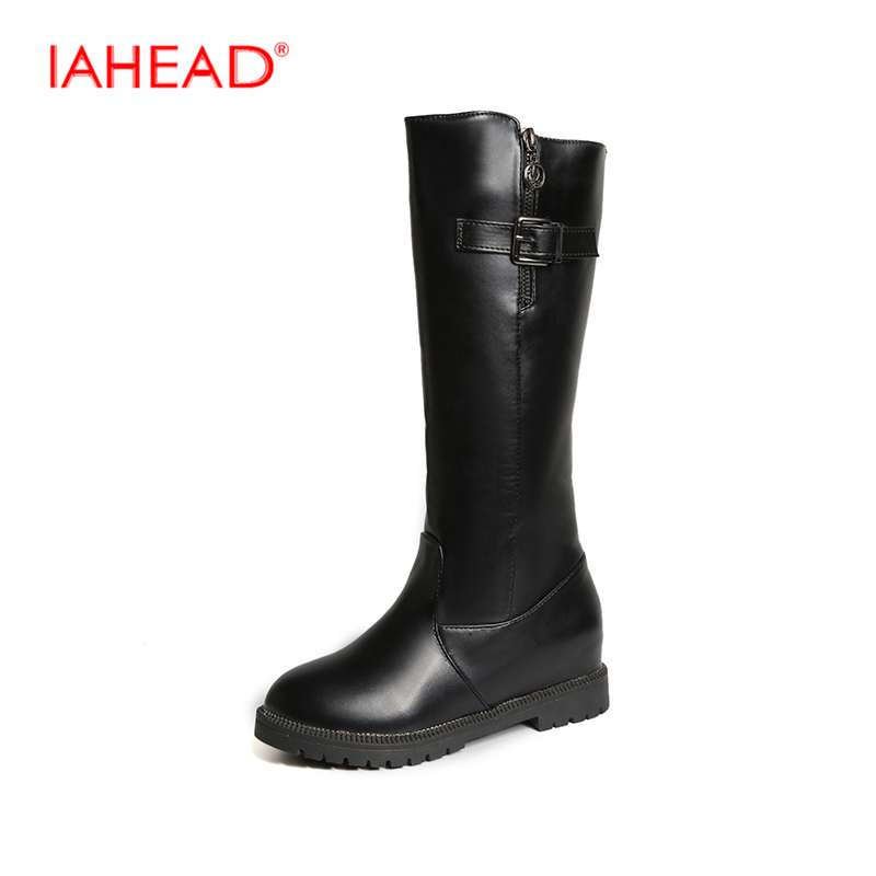 IAHEAD Womens Winter Shoes Natural Wool  Leather Women Winter Boot Brand Women Winter Shoes High Quality Knee High Boots UPC493<br>