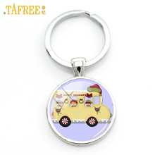 TAFREE happy kids school bus keychain fashion British London Double Decker Bus key chain ring holder Peace hippie car gifts H154