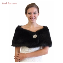 Black Shawls Bridal Boleros Faux Fur Bridal Wraps Wedding Jackets with Pearl Wedding Accessories Free Custom Made