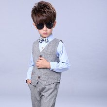 Kid Baby Boy Blazers Jacket Suit Formal Clothing Outerwear Party Wedding Casual Costume  3pcs /set