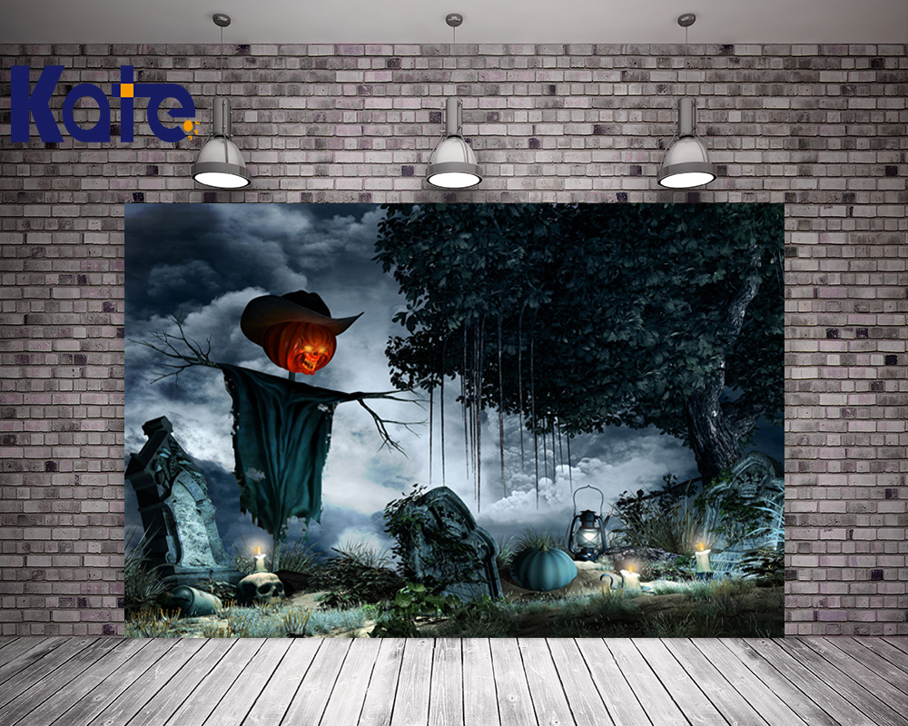 Kate Halloween Photo Backdrops Forest Gray Sky Pumpkin Halloween Background Photography For Children<br>