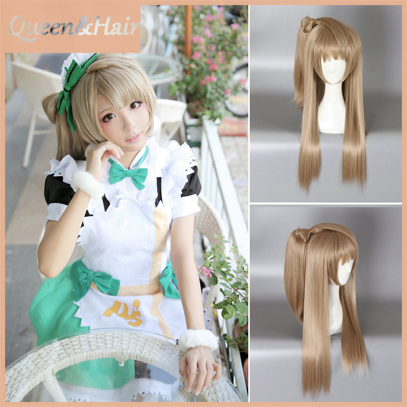 Free Shipping Ash Blonde Color Long Straight Synthetic Anime Love live Minami Kotori Wig Cosplay Wig With Double Ponytail<br><br>Aliexpress