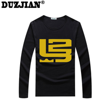 DUZJIAN Cavalier LeBron James Men's cotton Long Sleeve T-shirt bodybuilding maillot de basket camisa masculina compression shirt(China)