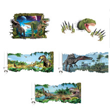 10 Types 3D Cartoon Dinosaur Vinyl Art Home Wall Sticker Decals Removable Wall Stickers For Kids Room Poster Decoration Decal(China)