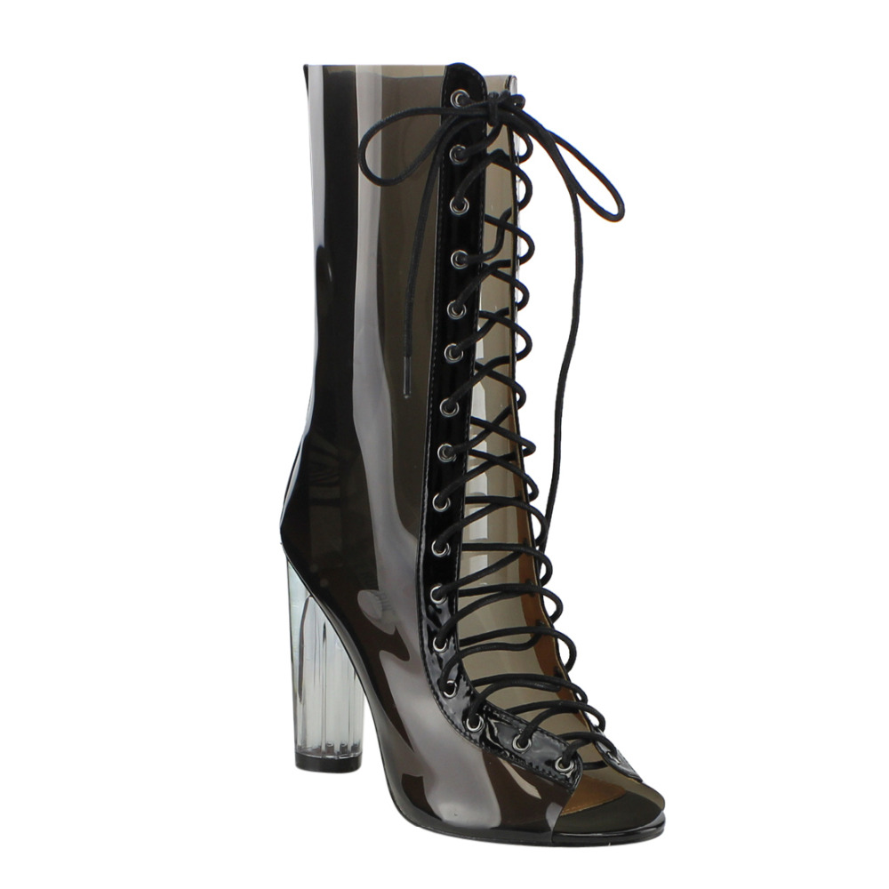FF48 Womens Peep Toe Corset Lace Up Lucite Heel Mid Calf Summer  Boots<br>