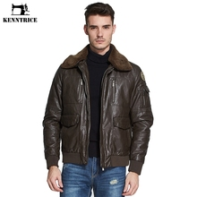 Kenntrice Classic Fleece Collar Pilot Leather Jackets Men Leather Coats Thick Brown Mens Bomber Jackets Veste cuir homme Large(China)