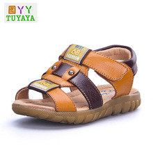 New 2018 Hot Sale Children Fashion Sandals Summer Boys Sandals Breathable Flats Shoes Genuine Leather Sandal for Kids(China)