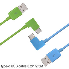 New!!Colorful 1m 2m  Short Right Angle 90 degrees USB-C Type C Quick Charger Charging Sync Data Cable