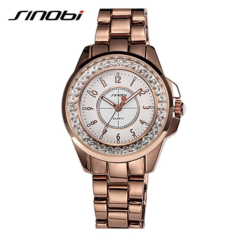 SINOBI Luxury Gold Crystal Rhinestone Watch For Women Business High Quality Relogio Feminino Elegant Waterproof Quartz Watches<br><br>Aliexpress