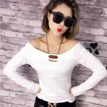 Buy Vetement Femme T Shirt Women Clothes 2017 Casual Tshirt Female Korean Long Sleeve Cotton Slash neck Hole T-Shirt Womens Clothing for $25.99 in AliExpress store