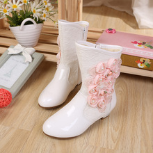 2017 Hot new bot gilrs boots brand shoes winter New Girls Princess boots leather flower boots free shipping no box high quality