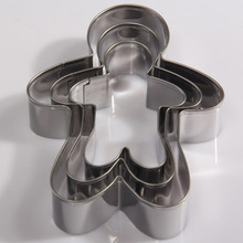 3pcs Christmas Gingerbread Man Cutters, Stainless Steel Cake Fondant Cookie Cutters, Cake Decorating Tools M-F68