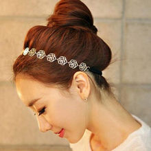 New Fashion Lovely Metallic Women Hollow Rose Flower Elastic Hair Head Band Headband Headwear Accessories(China)