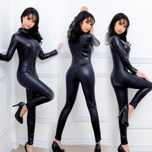 Buy Hot Lady Sexy Faux Leather Latex Smooth Wetlook Jumpsuit Front Zipper Elastic Black PU Bodysuit Slim Clubwear Women Costumes