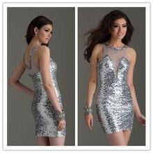 Luxury Sequined Silver Prom Dresses Sheer Neck 2015 High Quality vestidos  de festa vestido curto Sheath Special Occasion Dresses 65c2c0920e79