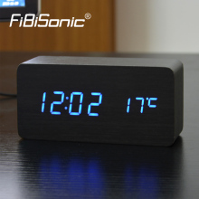 FiBiSonic LED reloj Despertador Wooden Alarm Clocks,Desktop Table Digital Watch LED Clocks Temperature Display