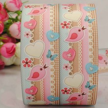 "Free shipping 50yards 1/2 "" 38 mm bird and heart printed grosgrain tape ribbon Valentine's Day DIY"