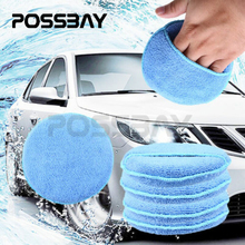 1/5PCS Blue Round Soft Microfiber Car Wax Applicator Pads Polishing Sponges For Apply And Remove Wax Car Motorcycle Accessories
