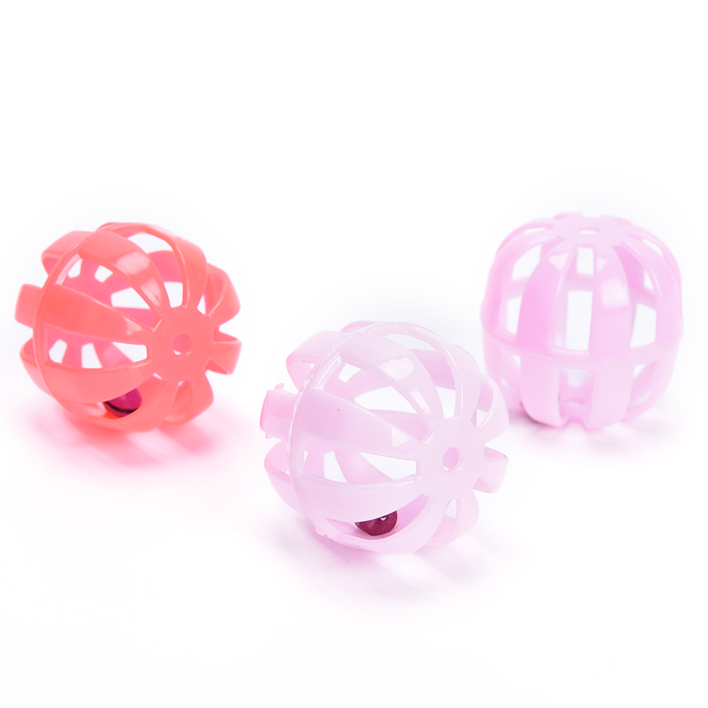 New 10 Pcs 1.57 inch Plastic Pumpkin Play Balls With Jingle Lightweight Bell Pounce Chase Toy For Cat Dog