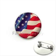 Independence Day gift bijoux brooch pins jewelry American flag Stars and Stripes USA flag forth of July pins for men,women KC516(China)