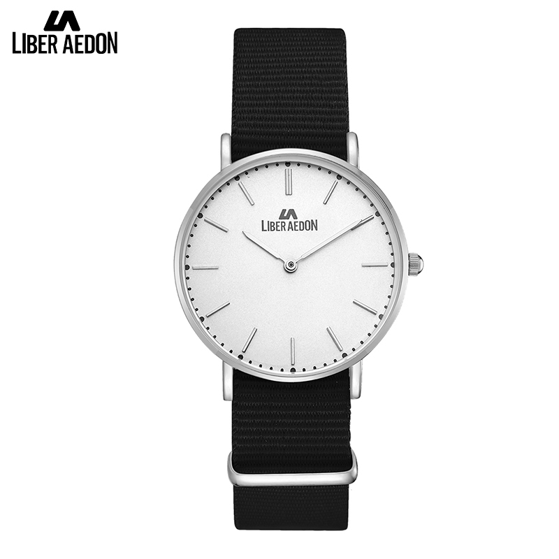 Liber Aedon Fashion Summer Premium Canvas Fabric Watches Band with Ultra Thin Classic Watches for Men<br>
