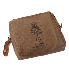 Classic Retro Canvas Purse Wallet Coin Bag Pouch Case Brown hanger(China)