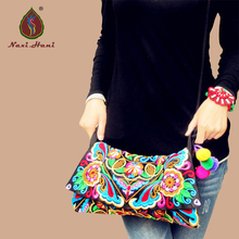 Online Hot sale Ethnic Vintage Embroidered canvas cover shoulder messenger bags Hmong Handmade Multicolor pompon small bags