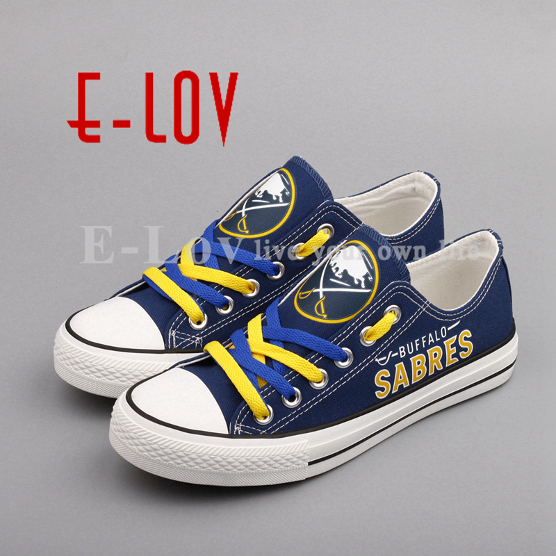 E-LOV Print NHL Buffalo Sabres Canvas Shoes Fashion Low Top Lace Casual Shoes Fans Gift Graffiti Woman Girl Shoes Big Size<br>