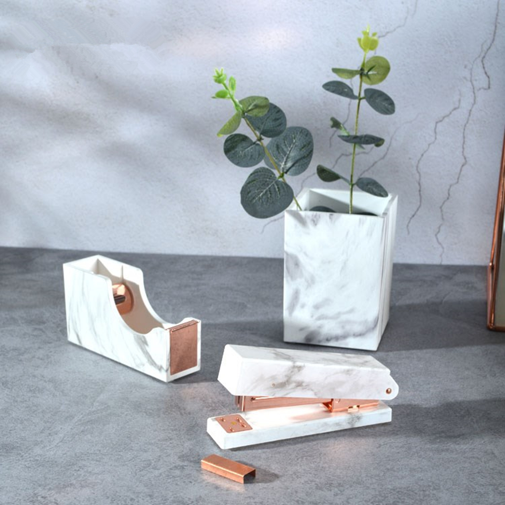 desktop office supplies set marble stapler tape dispenser pen holder rose gold