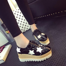 2017 new fashion black and white leather platform shoes ladies all star shoes casual lace women's shoes