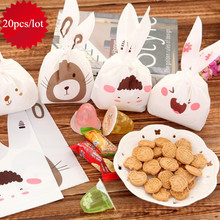 20pcs/lot Cute Rabbit Ear Candy Bag Baby Jellies Biscuits Pastry Potato Chips Food Bags Kids Birthday Party Gift Box Candy Bags