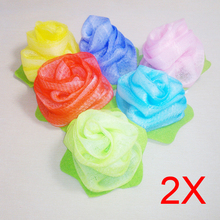2pcs Towel Bath Ball Shower Body Cleaning Mesh Shower Wash Nylon Sponge Product Loofah Flower Exfoliating Random Color HJL2017