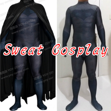High Quality Black Batman Costume Spandex Lycra Suit with Printed 3D Muscle Shading & Cape Halloween Cosplay Costume Custom Made