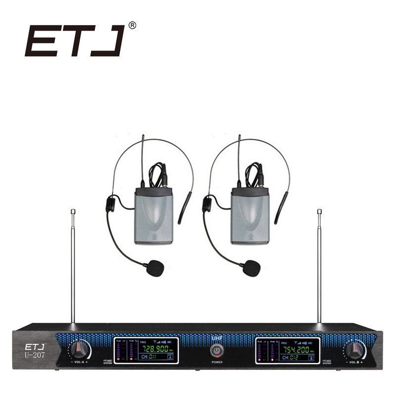ETJ Brand Changable Wireless Microphone Handheld Bodypack Headset Lavalier VHF Microphone U-207