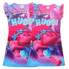 3-10year clothes girls pajamas cartoon nightgowns children clothing summer baby girl dresses princess party dress kids