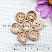 "(100pcs/lot) 20mm ""sweet baby""  Natural Wooden Button Bulk Gift Sewing Buttons 2 Holes 13/16""-AD0133C"