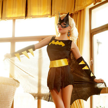 Female Batman Sexy Uniform European and American Girls Game Clothing Set Halloween Batman Cosplay Costume(headwear/dress/gloves)