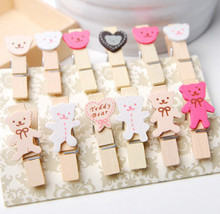 12PCS/lot  New Fashion Cute Cartoon Bear Wooden Bag Clip wood peg Clips Office&School special Gifts