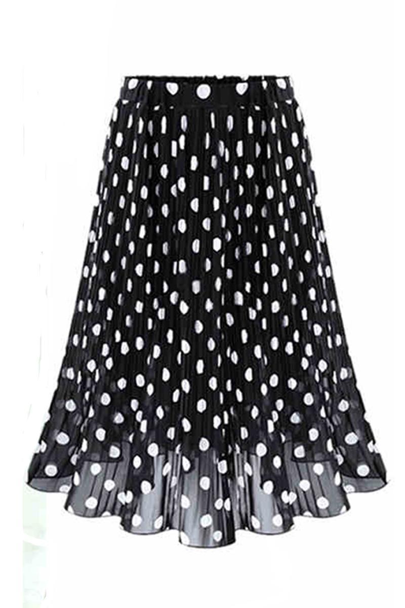 2017 юбка женские летние шифон в Юбка в горошек женские черные точки в длинные талия плиссированные юбки длинные юбки(China)