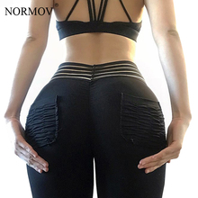 Buy NORMOV Workout Leggings Women Fitness Clothing High Waist Legging Femme Pocket Push Pants Black Trousers Female 3 Color for $10.68 in AliExpress store