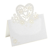 New 50pcs/pack Lots Of Cut Love Heart Laser Wedding Party Table Name Place Cards Favor Decor LH8s(China)