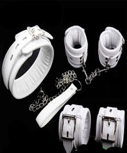 Buy Bdsm Fetish Leather Sponge Dog Collar Slave Hand Wrist Ankle Cuffs Bondage Restraints Belt Lockable Adult Games Couples