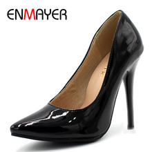 ENMAYER 7 Colors Women Stiletto High Heel Shoes Pointed Toe Sexy Wedding Fashion Sexy Platform Pumps Heels Shoes Big Size 34-44(China)